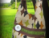 Vintage Style handmade Handbag - Diamonds in Olive, Brown and Mustard