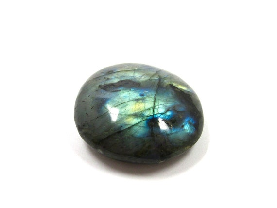 Labradorite Tumbled Stone For Wire Wrapping and Jewelry Making 42mm x 39mm (Lot No. 1114) Spectrolite Grey Blue Green