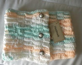 Crochet Scarf Neckwarmer White Aqua Peach OOAK