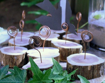 Table Number, Menu,Photo/Card Holder Wedding,Party - Cedar Branch & Recycled Copper - Woodland/Rustic/Garden/Country-Set of 12