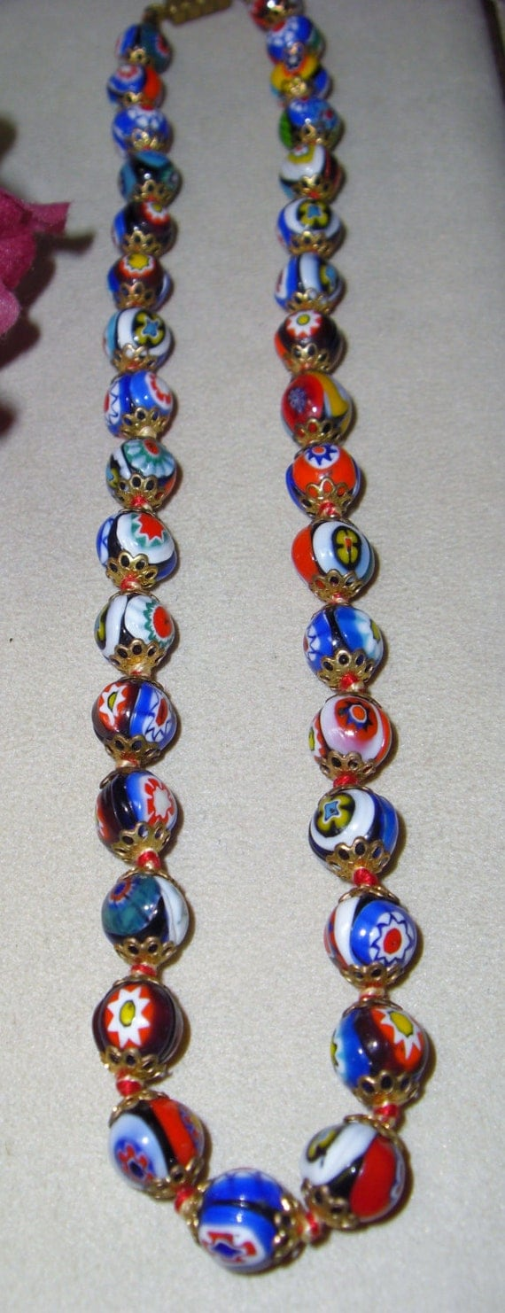 Vintage Venetian Millefiori Glass work Filigree caps and Knotted between each bead Necklace Stunning