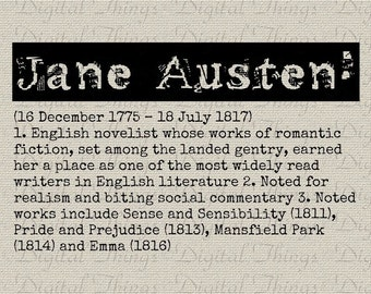 Grunge JANE AUSTEN Definition Word Dictionary Vintage Typewriter Digital Download for Iron on Transfer Fabric Pillows Tea Towel DT812