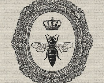 Queen Bee Crown Ornate Frame Wall Decor Art Printable Digital Download for Iron on Transfer Fabric Pillows Tea Towels DT907
