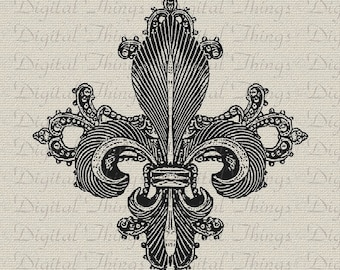 Fleur de Lis French Ornate Digital Download for Iron on Transfer Fabric Pillows Tea Towels Wedding Stationery Flourish DT497