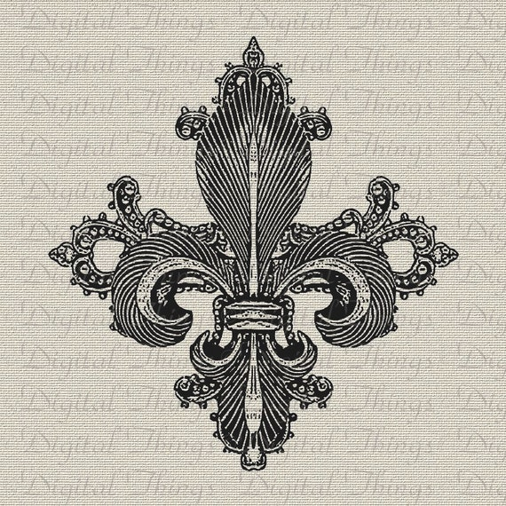 Fleur De Lis French Ornate Digital Download For Iron On