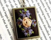 Cyber Monday Sale - ON SALE Lavender and Brown Embroidered Flower Pendant, Beaded - Silk Ribbon Embroidery By BeanTown Embroidery