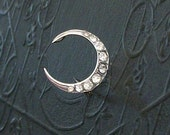 Victorian Sterling Paste Moon Pin Brooch . Crescent .