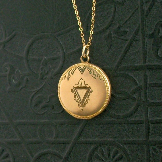 Antique Locket with Triangle. Late Victorian.