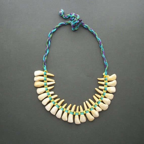Vintage Tribal Tooth Necklace . Huge Donkey Teeth.