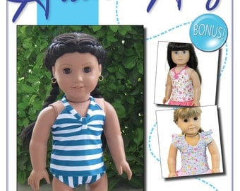 Tankini Patten Bundle:  PDF Sewing Pattern for 18 inch doll (like American Girl Doll)
