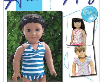 Tankini Patten Bundle:  PDF Sewing Pattern for 18 inch doll (like American Girl Doll)