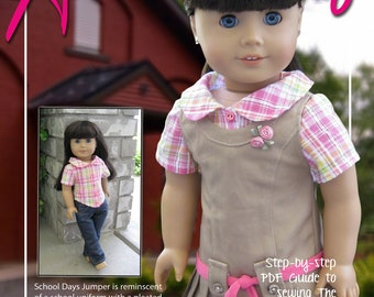 "School Days Jumper & Blouse PDF sewing pattern for 18"" dolls like American Girl Doll"