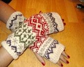 Knitted Fair Isle Fingerless Gloves- Free Shipping