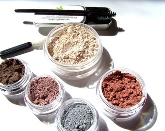 Mineral Makeup 6 Piece Set - Choose The Colors - Mineral Cosmetics - Cake Mascara - Blush - Eyeshadows - Foundation - Gifts Under 50
