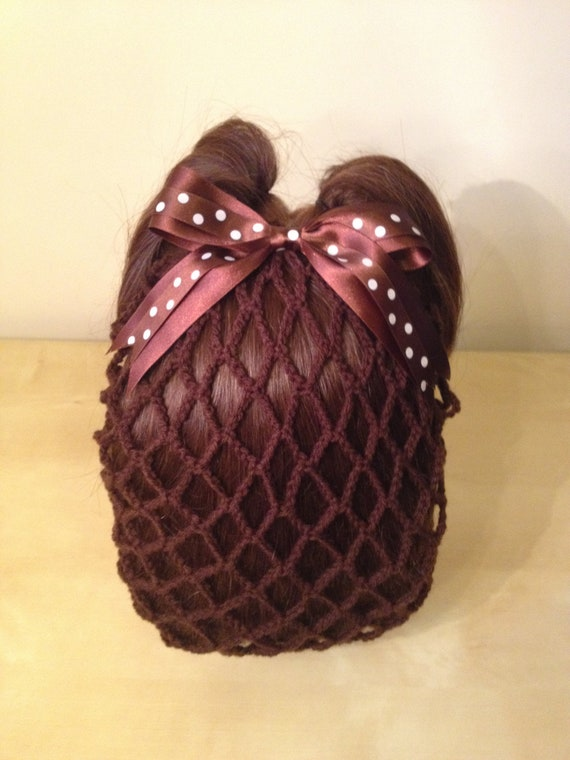 Chocolate Brown Vintage Crochet Snood