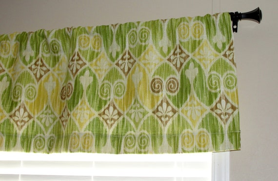 "CLEARANCE Designer Williamsburg Sheraton Ikat Lemongrass Valance 50"" wide x 16"" long Green Yellow and Brown Lined with Cotton Muslin"
