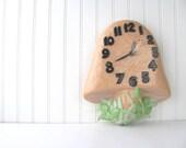 Vintage Mushroom Clock 1970s Retro Kitsch Ceramic