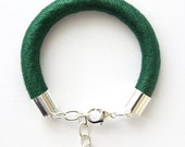 Chunky Cord Bracelets Wrapped with Mercerised Cotton - Emerald