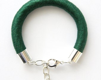Chunky Cord Bracelet Wrapped with Mercerised Cotton - Emerald - Rope - Silver Chain