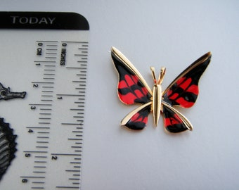 Unsigned  Enameled red and black   butterfly  pendant