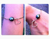 Gold Tahitian Large Pearl Bangle with Heart Charm LARGE