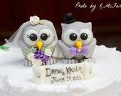 Wedding owl cake topper love bird, grey owls bride and groom