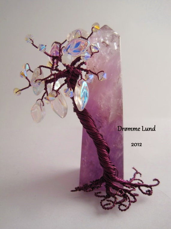 Tree Of Life And Celibacy  (Copper Wire Tree Sculpture With Amethyst Obelisk)