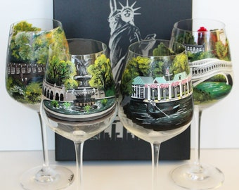 Hand Painted Wine Glass : Central Park, New York - NY-  Set of 4