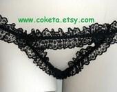 Open Crotch G String, Black lace lingerie, large