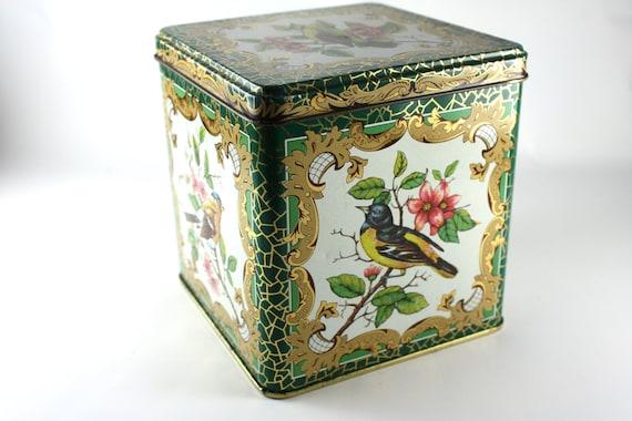 tin daher birds made in England hinged lid