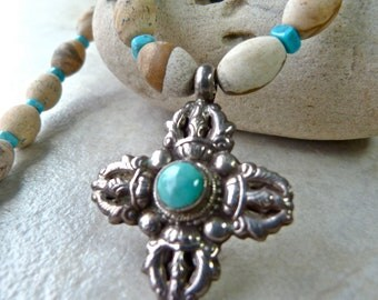 Tibetan Silver Turquoise Double Dorje Pendant - Picture Jasper - Earth and Sky Artisan Necklace