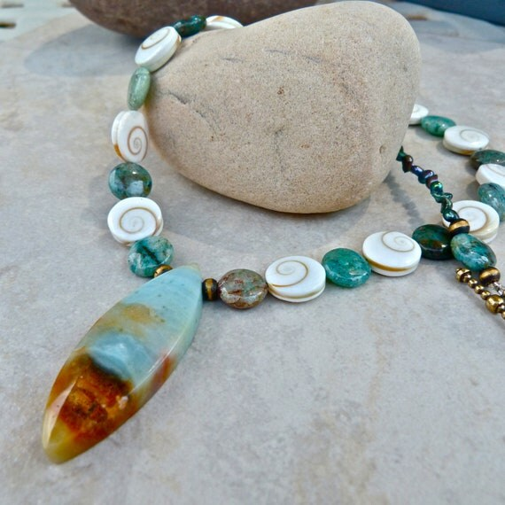 Surf's Up Amazonite Shiva Shell Cuprite Pendant Necklace - Earrings - Blue Green Beach Statement Necklace