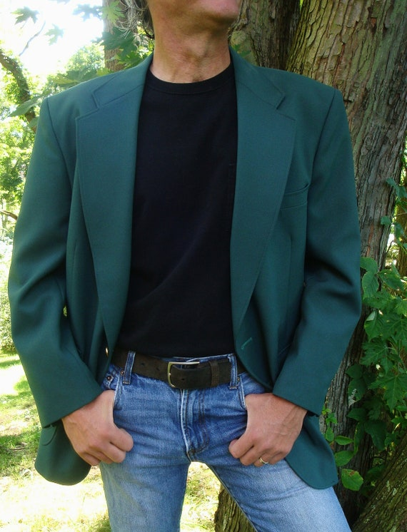 Vintage Luck 'O the Irish Mens Dark Green Blazer Sport Coat. Lucky Masters Golf Jacket Country Club. Wide Lapel. Size 42 R