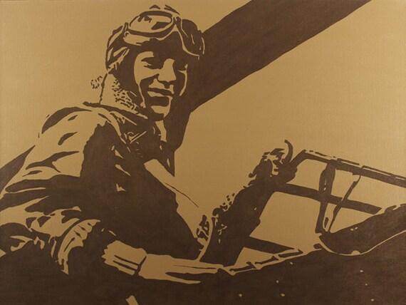 "Up and Away - Amelia Earhart Portrait Pop Art Style Tan and Metallic Brown -24""x32"""