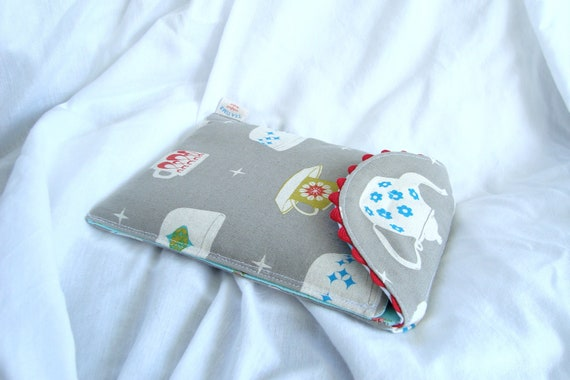 Plush Kindle Fire cover, Kindle sleeve fits most E-readers and small tablets in Melody Miller Vintage pyrex fabric