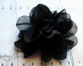Shabby Chiffon Black Flower Puff Hair Clip. Newborn baby, toddler, little girl. Ready to Ship Sale. Handmade