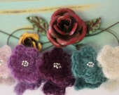 Cottage Chic Crochet Mohair Flower Set of 5