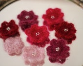 Berry Fantasy Mohair Flower Set of 8 Handmade Crochet Applique
