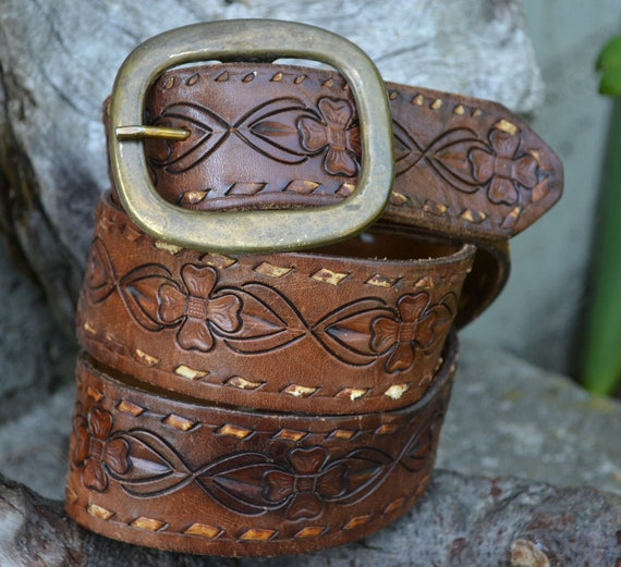 70s Hand Tooled Floral Sweetheart Rodeo Belt