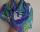 "Vintage silk scarf Liz Claiborne mod color block 30""sq"