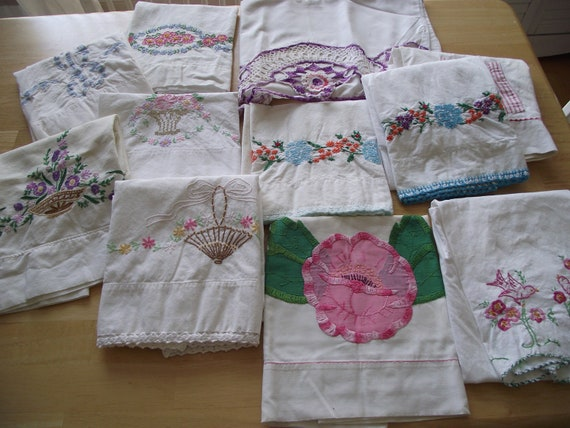 Vintage Pillowcases lot of 11 crochet embroidered hand done cotton