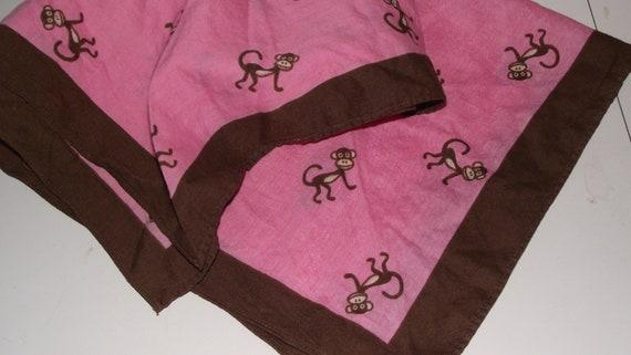 Vintage Neck Scarf  Pink Monkeys cotton square bandana curious george