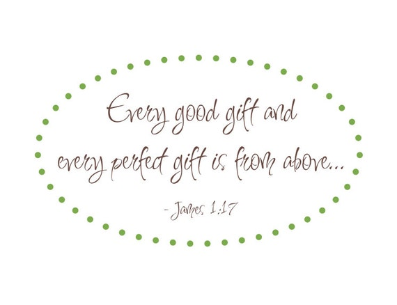 "Every Good Gift Scripture Vinyl Wall Decal Bible Verse James 1:17 for Girl Boy Baby Nursery 22""H x 38""W"