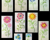 Vintage Flowers Filled 1-10 Machine Embroidery Design - 5x7 & 6x8