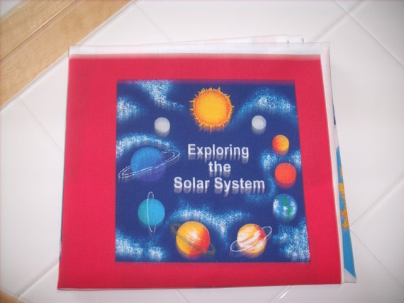 Cloth storybook panel to make exploring the solar system for Solar system fabric panel