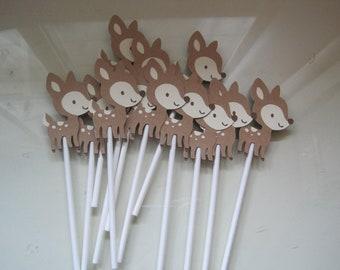 12 deer cupcake toppers