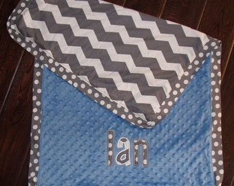 Boutique Boy's Chevron Themed Carseat, Stroller or Lovey Blanket