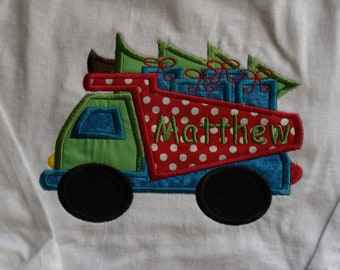 Boutique Truck with Christmas Tree Shirt Boys or Girls Sizes Newborn to 14 Youth