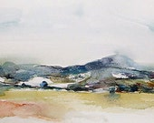 View towards Clee from Norton Camp, Craven Arms, Shropshire. Watercolour painting original art.