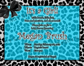 Turquoise Teal or Hot Pink and Black White Animal Cheetah Print Custom Baby Birthday Invitation